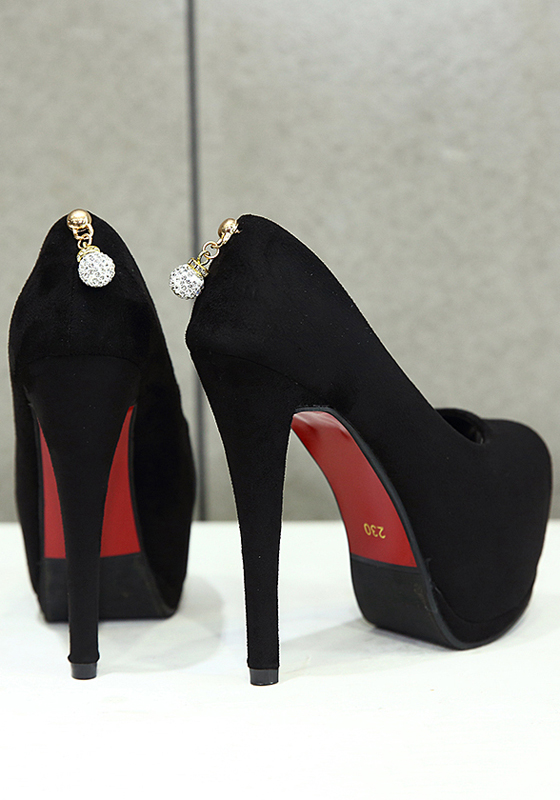 Black piscine mouth stiletto rhinestone casual high heeled for All black piscine wedges