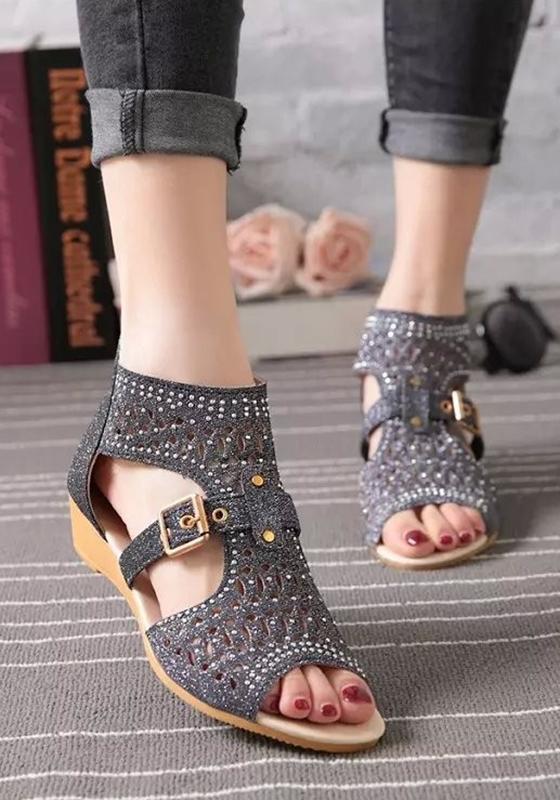 Black piscine mouth wedges buckle zipper fashion sandals for All black piscine wedges