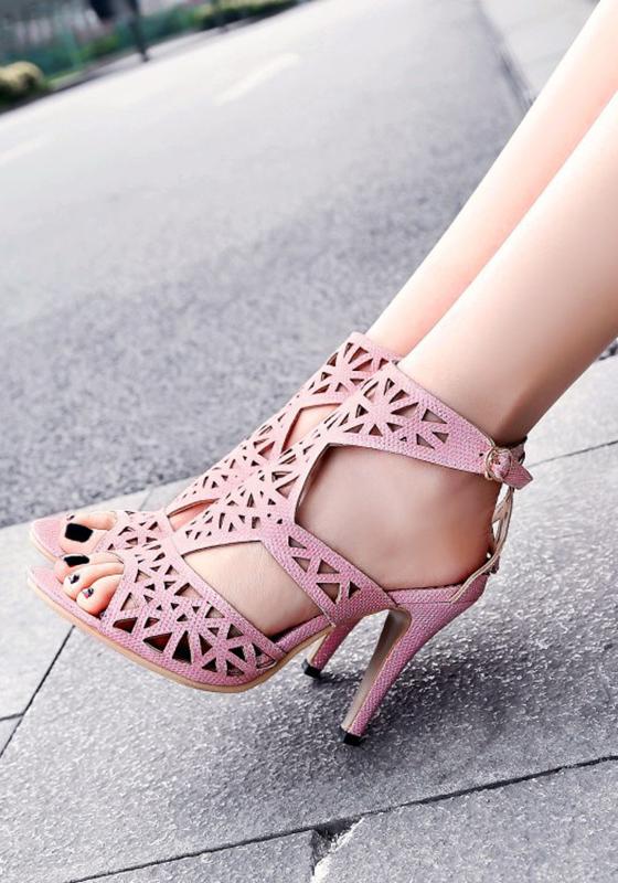 Rose Round Toe Chunky Buckle Fashion High Heeled Sandals