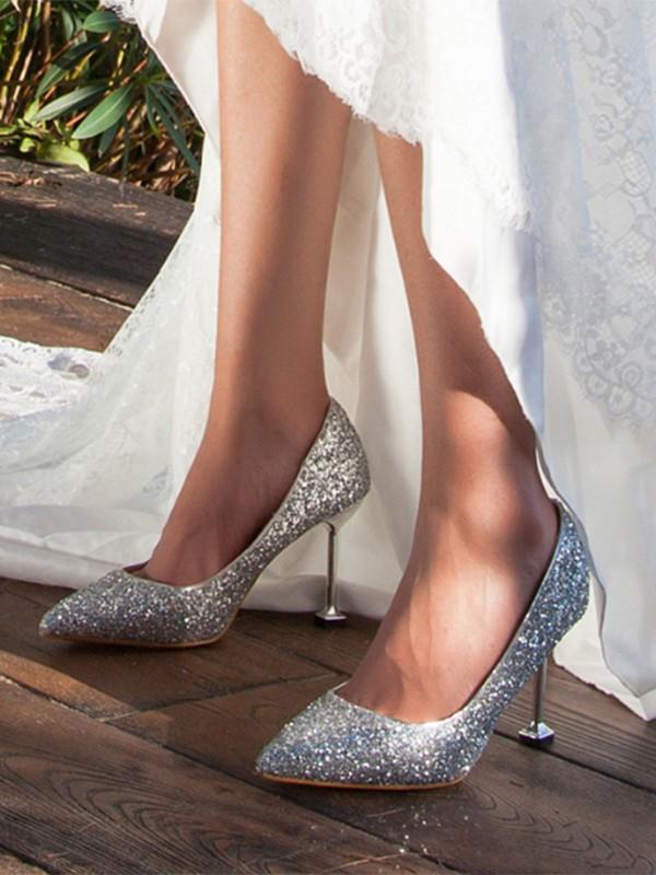 Silber Punkt Zehe Stilett Pailletten Glitzer Pumps Elegante High Heels Schuhe Damen Mode