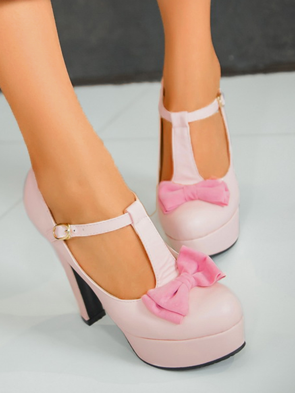Rosa Runde Zehe Blockabsatz Schleife Fesselriemen Mode High Heels Pumps Damen Schuhe