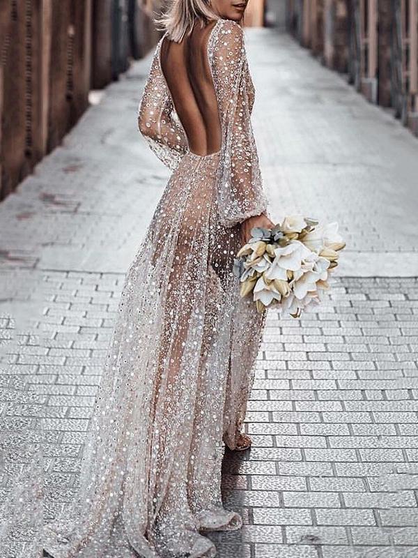 White Sequin Glitter Backless V Neck Long Sleeve Elegant
