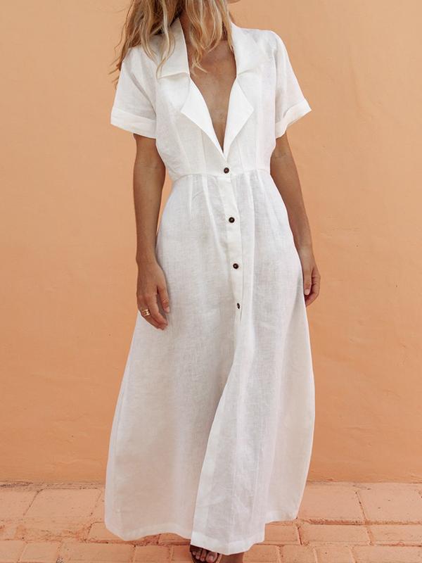 Maxi vestito petto scollo A V profondo manica corta moda bianco