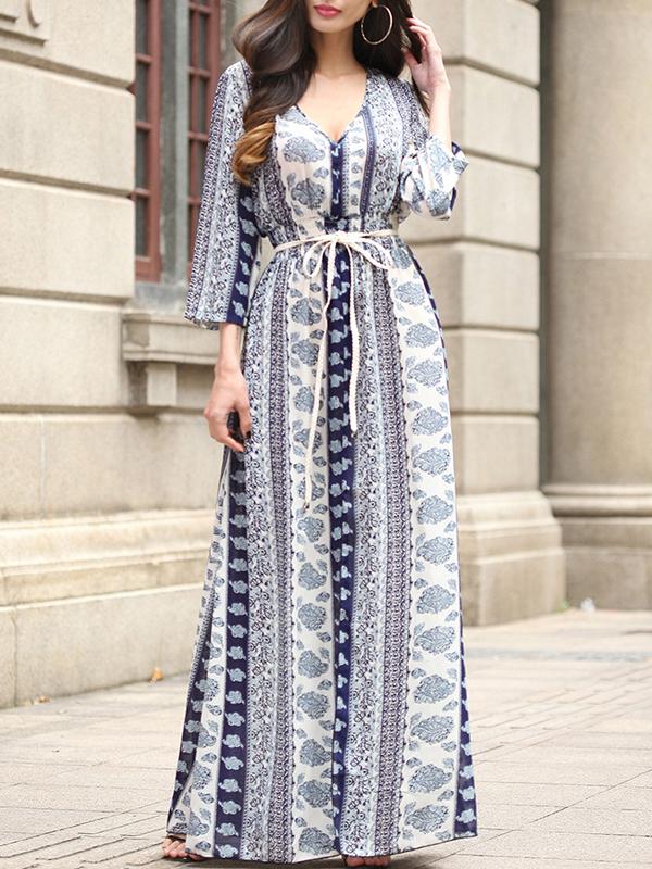 567fbf3af25 Blue Floral Print Lace-up Slit Flowy V-neck Long Sleeve Elegant Bohemian Maxi  Dress - Maxi Dresses - Dresses