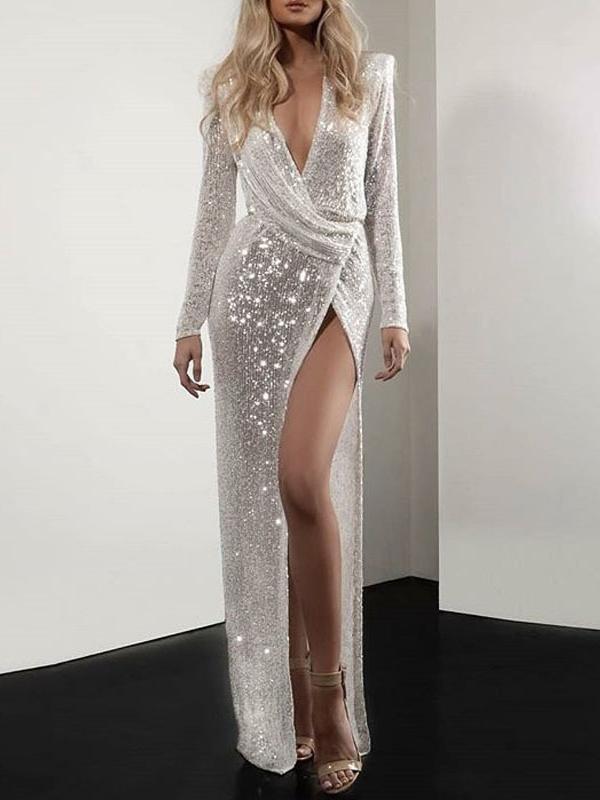 White Sequin Glitter Sparkly Slit Deep V Neck Long Sleeve