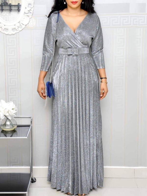 wholesale dealer d3416 e54de Silber Glitzer Plissee Mit Gürtel V-Ausschnitt Große Größen Elegante  Maxikleid Abendkleid