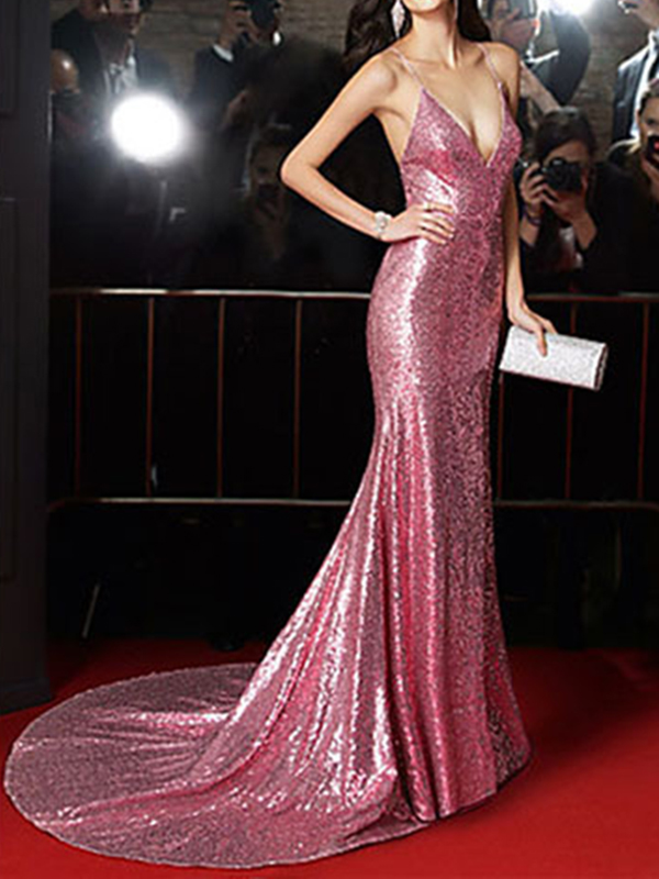38baf03c094a7 Pink Sequin Wrap V-neck Backless Tie Back Spaghetti Strap Red Carpet Big  Swing Elegant Maxi Dress - Maxi Dresses - Dresses