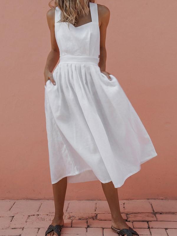 super popular b6b87 cf294 Weiß Taschen Ärmellos Midikleid Trägerkleid Cocktailkleid Hosenträger Latz  Kleid