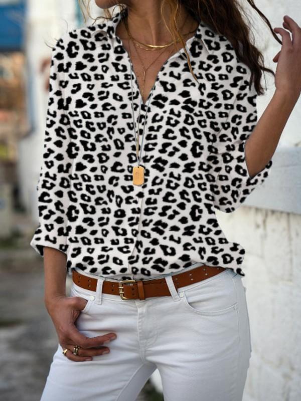 größte Auswahl von 2019 niedrigerer Preis mit vollständige Palette von Spezifikationen Weiße Leopard Print Knöpfen V-Ausschnitt Langarm Beiläufige Bluse Tops  Oberteile Damen Mode