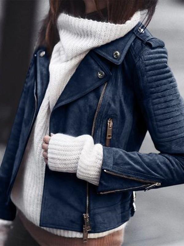 Blau Reißverschluss Langarm Wildleder Mantel Bikerjacke Lederjacke Damen Mode