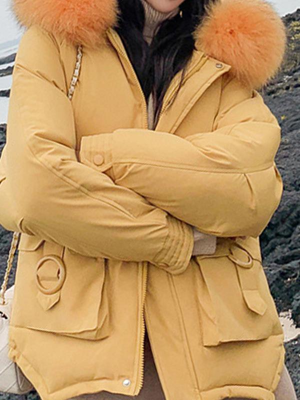 Gelb Pelzkragen Taschen Mit Kapuze Reißverschluss Langarm Süße Wamer Wintermantel Steppjacke Damen
