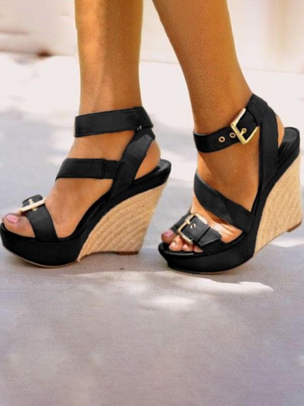 look good shoes sale los angeles low cost Sandales espadrille talon compensé sangle chunky buckle mode femme noir