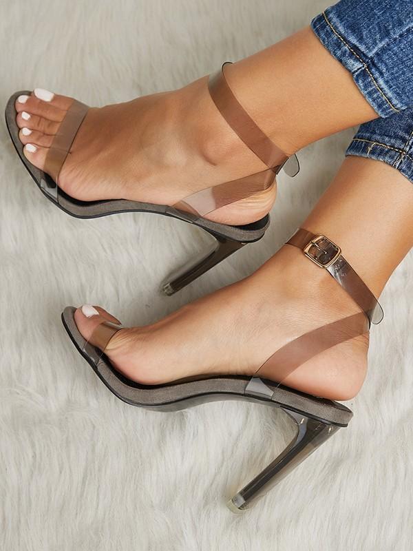 Durchsichtig Pumps Blockabsatz Schuhe High Heels Schwarz Fesselriemen Mit Absatz Party Damen Sandalen Transparente oerCxBd