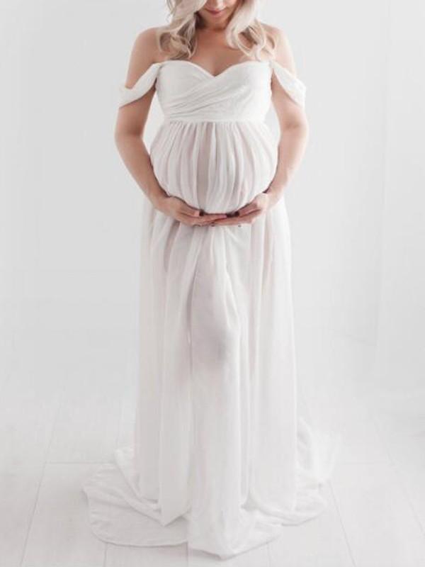 White Patchwork Lace Off Shoulder Slit Pregnant Photoshoot