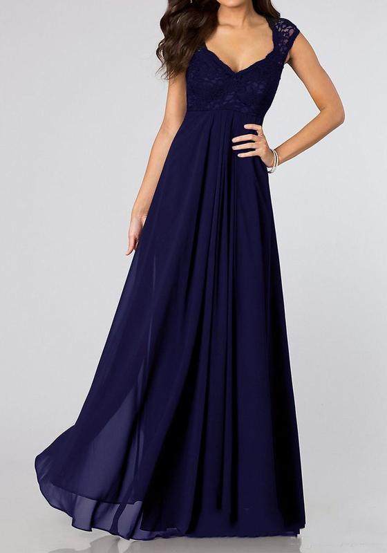 Blau flickwerk spitze plissee v ausschnitt rmellos for Robes de mariage maxi uk