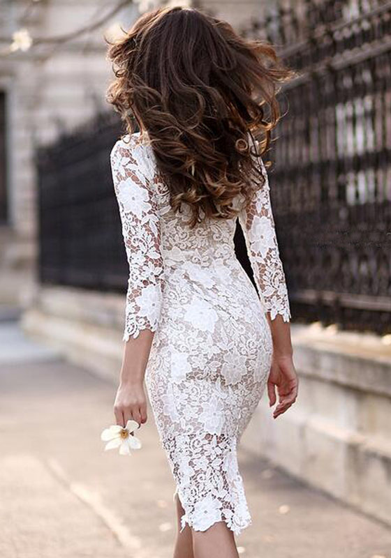 White Plain Lace Hollow Out Irregular 3 4 Sleeve See