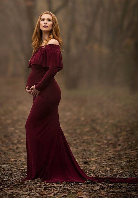 Burgundy Ruffle Off Shoulder Backless Long Sleeve Elegant