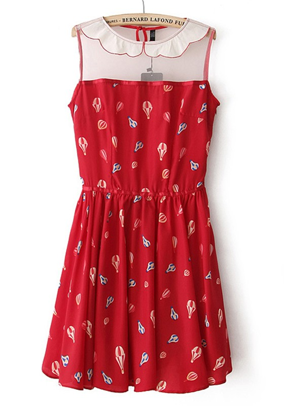 857801b16 Red Balloon Print Patchwork Lapel Chiffon Dress - Going Out - Dresses