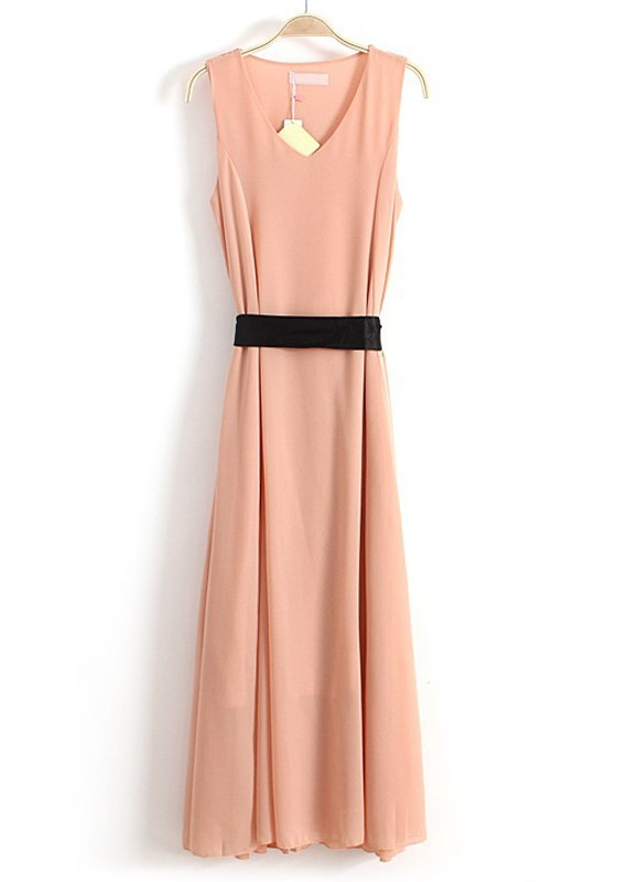 pink irregular belt v neck sleeveless chiffon dress maxi