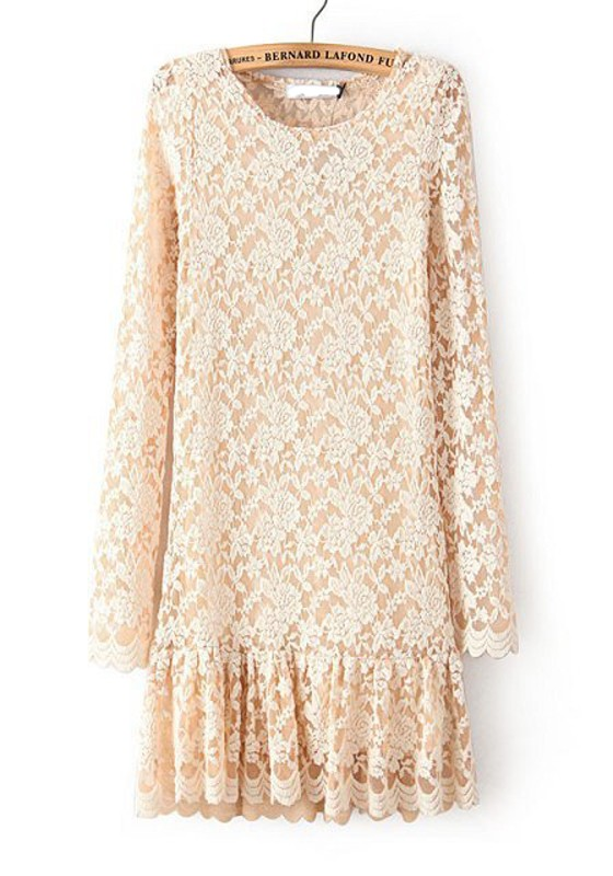 Beige Plain Pleated Long Sleeve Lace Mini Dress - Mini ...