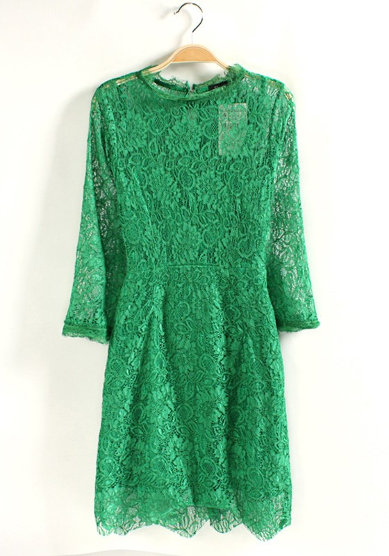 green buttons hollowout long sleeve lace dress midi