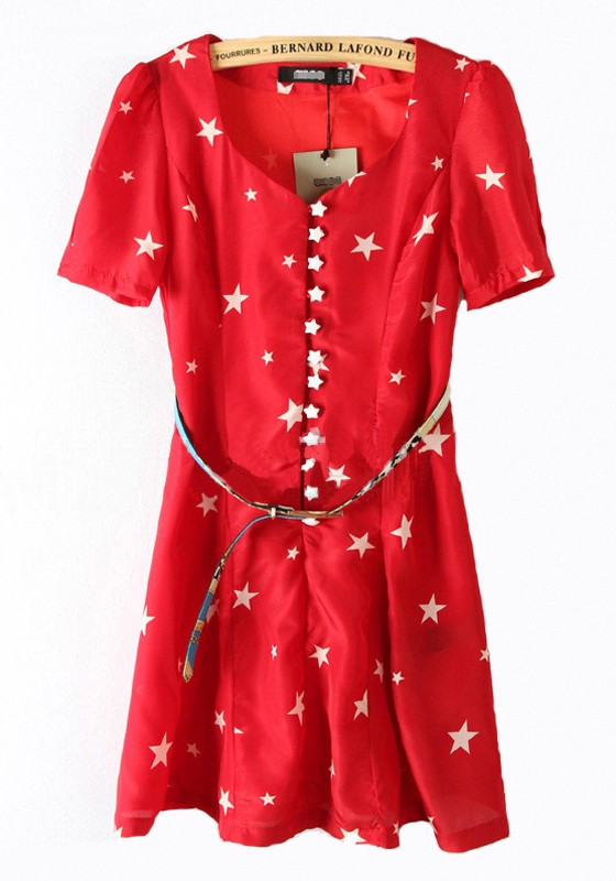 Red Heart Print Buttons Short Sleeve Chiffon Dress - Mini Dresses ...