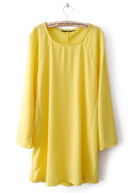 Yellow Irregular Lotus Long Sleeve Chiffon Dress - Mini Dresses ...