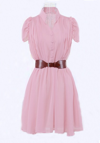 Pink Ruffle Belt Cap Sleeve Chiffon Dress - Cocktail - Dresses