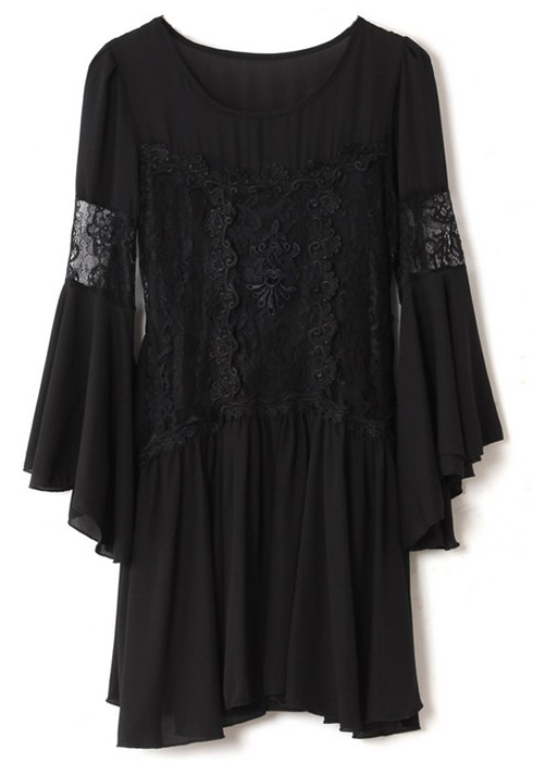 Black Falbala Lace Bat Long Sleeve Chiffon Dress - Mini Dresses ...