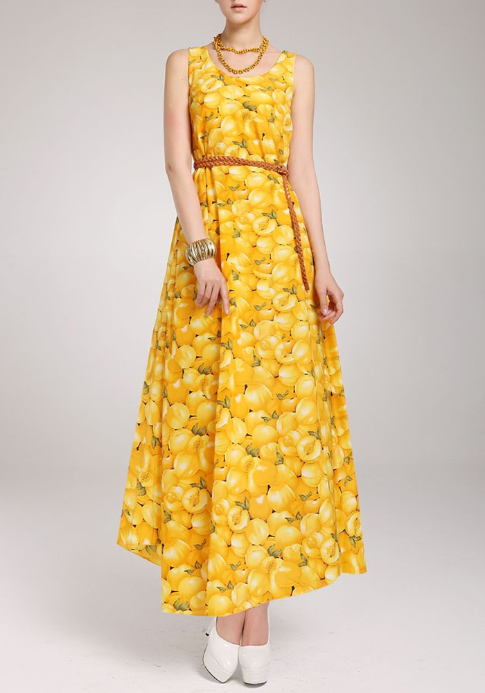 Yellow Print Dresses