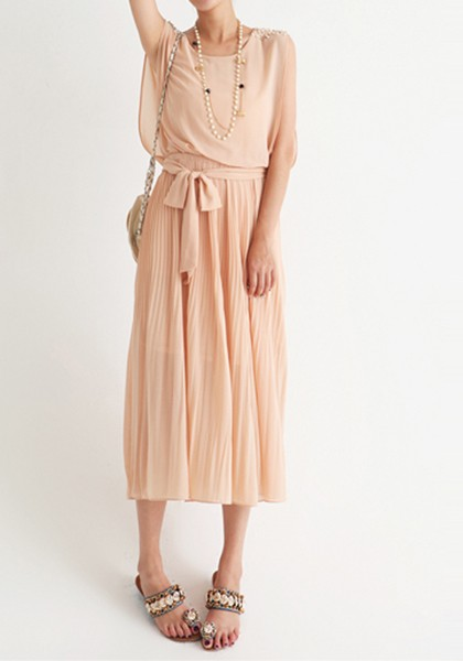 pink pleated pearl belt sleeveless polyester dress maxi