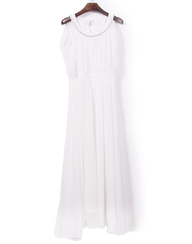 d6c6f40be9f6 White Plain Pleated Shaped Chiffon Maxi Dress - Maxi Dresses - Dresses
