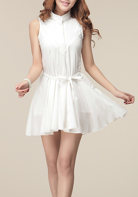White Pleated Belt Lapel Sleeveless Chiffon Dress - Mini Dresses ...