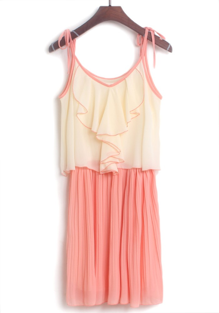 pink patchwork condole belt falbala pleated chiffon dress