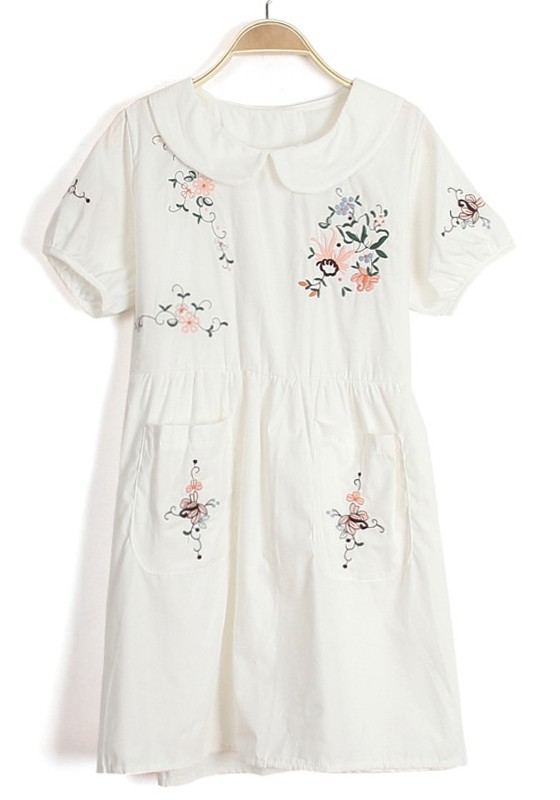White embroidery flowers peter pan collar cotton dress for White cotton shirt peter pan collar