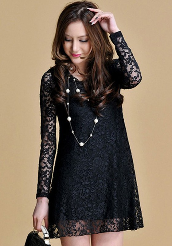 Black Hollow-out Long Sleeve Loose Lace Dress