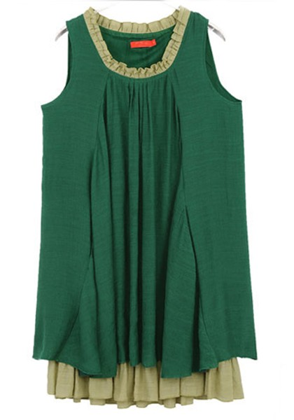 06aa54d86413 Green Plain Pleated Falbala Loose Cotton Dress - Going Out - Dresses