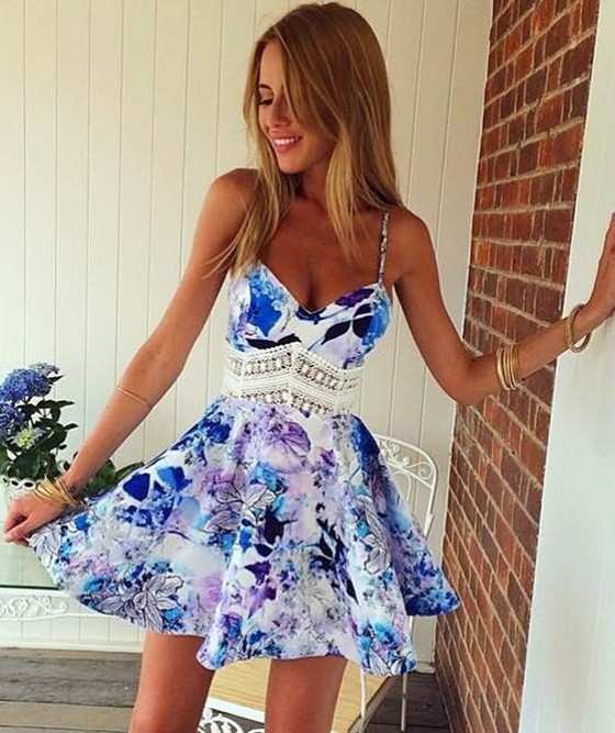 Blue Floral Patchwork Spaghetti Straps Wave Pattern Homecoming ...