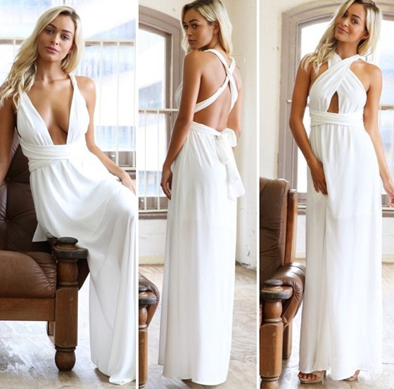 9f5a9dcb03f White Plain Cross Back Plunging Neckline Maxi Dress - Maxi Dresses ...