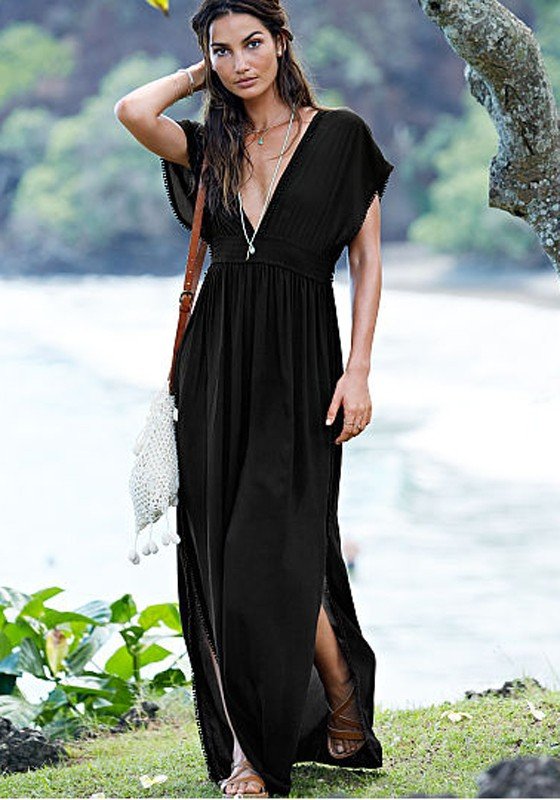 Black Plain Tassel Plunging Neckline Short Sleeve Maxi Dress ...