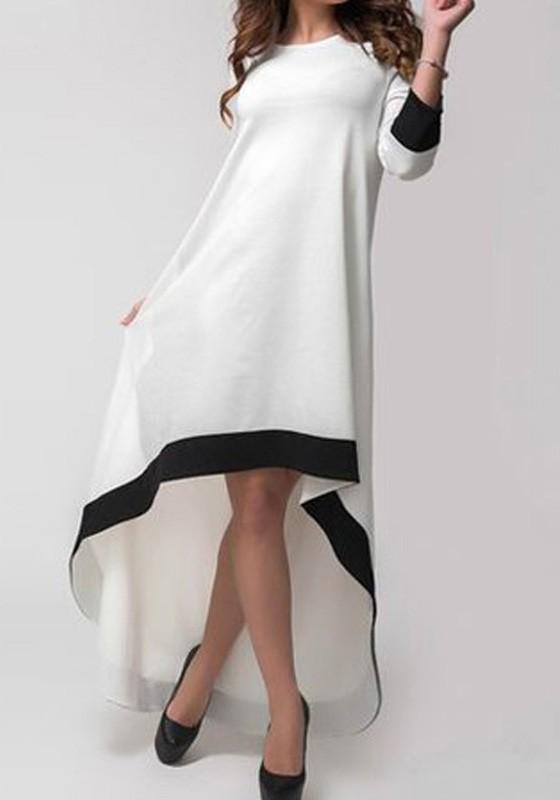 807a371d7005c White Plain Irregular Round Neck Swallowtail Fashion Maxi Dress - Maxi  Dresses - Dresses