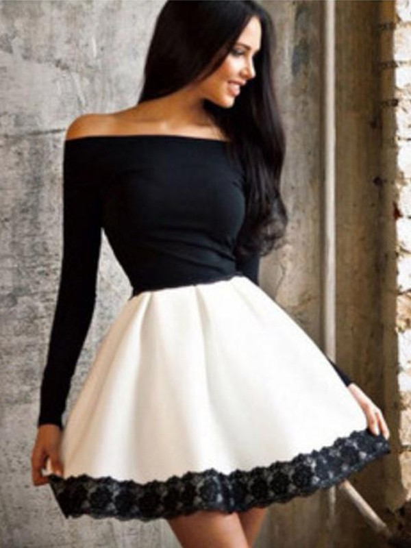 a496384e16c6 Black-White Patchwork Lace Boat Neck Homecoming Teenager Cute Midi ...
