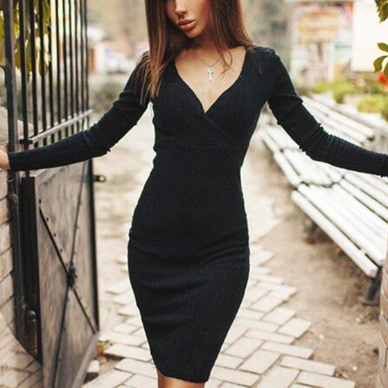 V Neck Dress With Sleeves