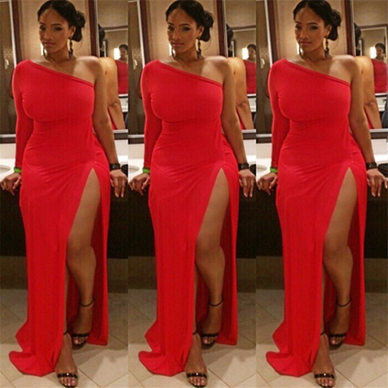 e6ac4e1cfd Red Irregular Off Shouder Thigh High Side Slits Plus Size One-Shoulder  Abendkleid Party Maxi Dress - Maxi Dresses - Dresses