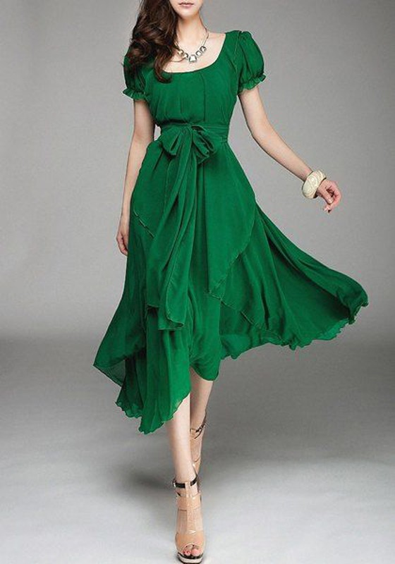 Green Plain Belt Round Neck Short Sleeve Midi Dress - Midi Dresses ...