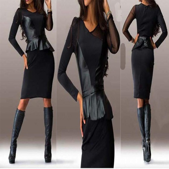f4dd6f65e398 Black Patchwork PU Leather Round Neck Long Sleeve Midi Dress - Midi Dresses  - Dresses