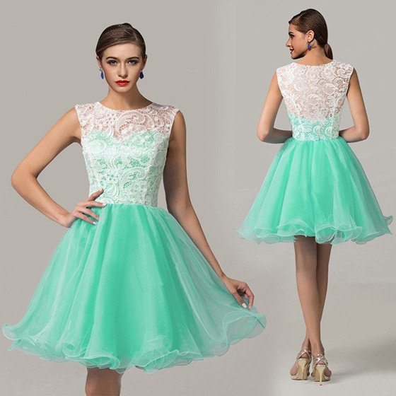 25dec22045 Green Patchwork White Lace Pleated Round Neck Sleeveless Puffy 8th ...