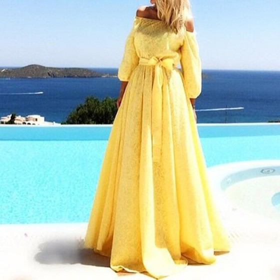 efb03a4f4c27 Yellow Lace Pleated High Waisted Sashes Off Shoulder 3 4 Sleeve Flowy Beach  Wedding Maxi Dress - Maxi Dresses - Dresses