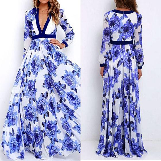 9aa7fd10a25 Robe longues fleuri boho imprimé à fleurs décolleté plongeant manches longues  élégant bleu