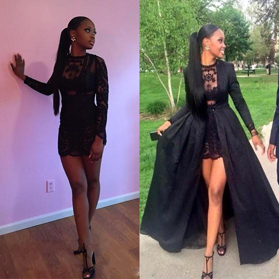 c4a9c8df453 Black Patchwork Lace Round Neck Long Sleeve fashion Two Piece Prom Maxi  Dress - Maxi Dresses - Dresses